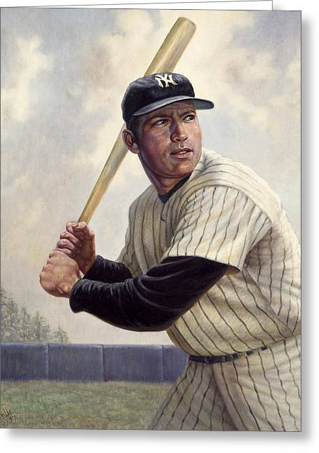 Switches Greeting Cards - Mickey Mantle Greeting Card by Gregory Perillo