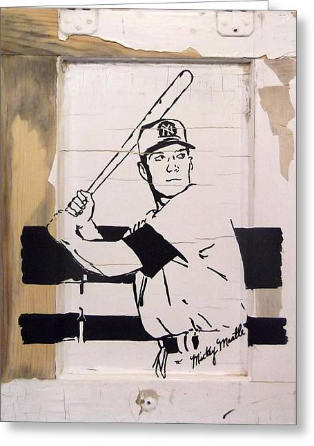 Mickey Mantle Portrait Greeting Cards - Mickey Mantle Greeting Card by Jill Wells