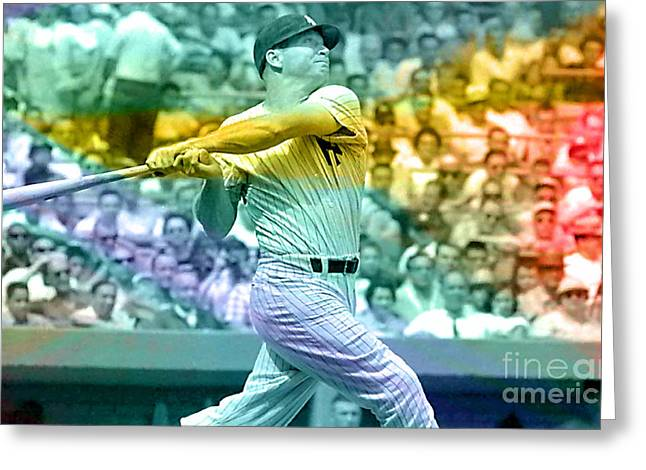 Mickey Mantle Greeting Cards - Mickey Mantle Greeting Card by Marvin Blaine