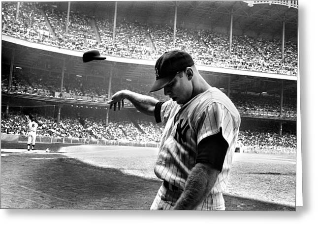 League Greeting Cards - Mickey Mantle Greeting Card by Gianfranco Weiss