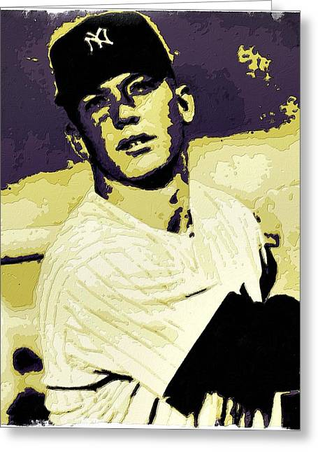 Mickey Mantle Portrait Greeting Cards - Mickey Mantle Poster Art Greeting Card by Florian Rodarte