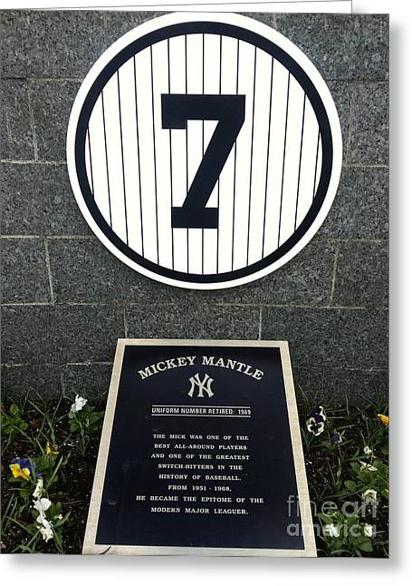 Numbers Greeting Cards - Mickey Mantle Tribute Yankee Stadium Greeting Card by Amy Cicconi