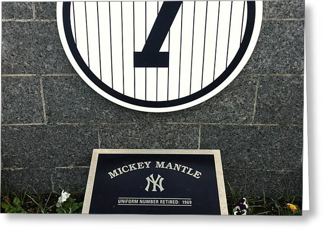 Mickey Mantle Tribute Yankee Stadium Greeting Card by Amy Cicconi