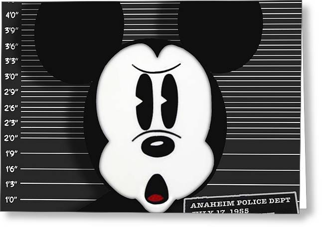 Police Cartoon Greeting Cards - Mickey Mouse Disney Mug Shot Greeting Card by Tony Rubino