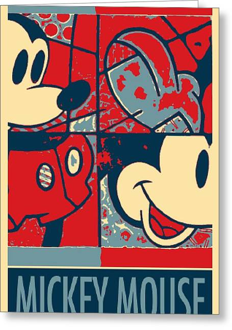 Shepard Fairey Greeting Cards - MICKEY MOUSE in HOPE Greeting Card by Rob Hans