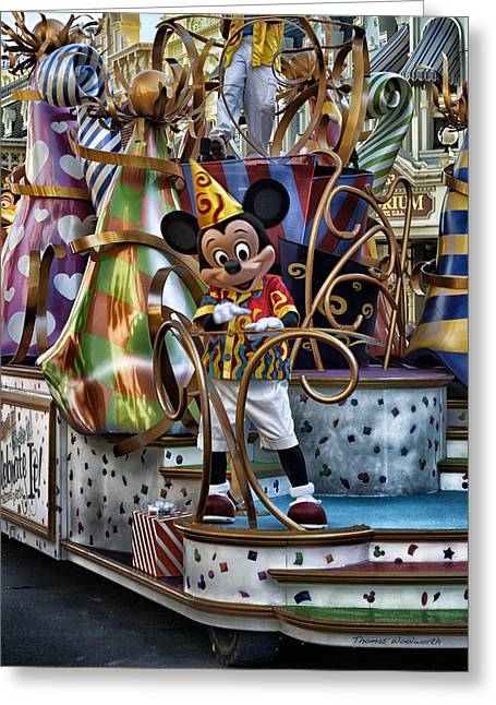 Mickey Mouse On His Celebrate It Float Greeting Card by Thomas Woolworth