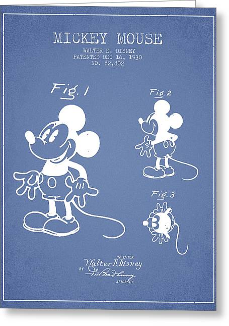 Mickey Mouse Patent Drawing From 1930 - Light Blue Greeting Card by Aged Pixel