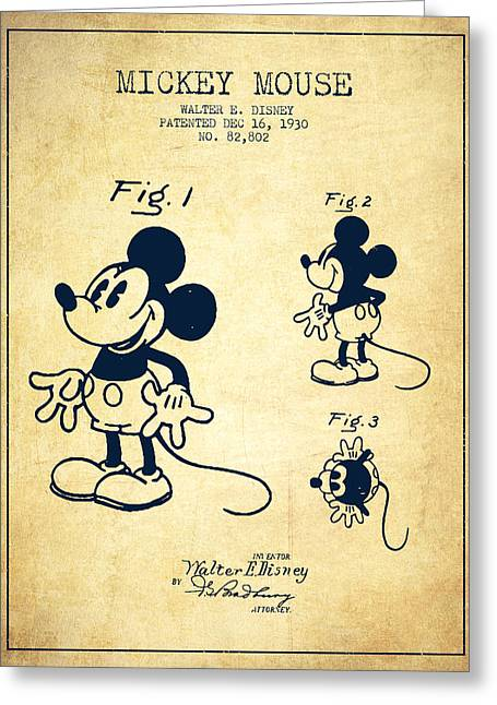 Technical Art Greeting Cards - Mickey Mouse patent Drawing from 1930 - Vintage Greeting Card by Aged Pixel