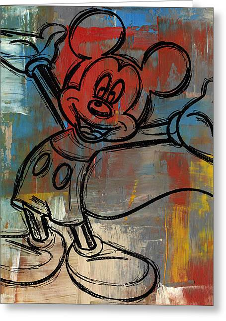 Wall-art Digital Art Greeting Cards - Mickey Mouse Sketchy Hello Greeting Card by Paulette B Wright