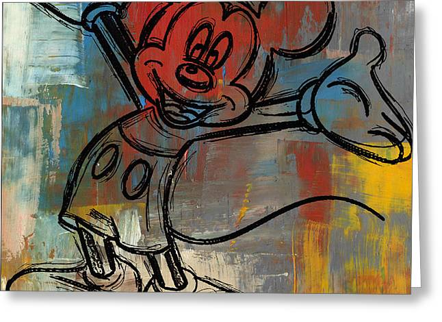 Mickey Mouse Sketchy Hello Greeting Card by Paulette B Wright