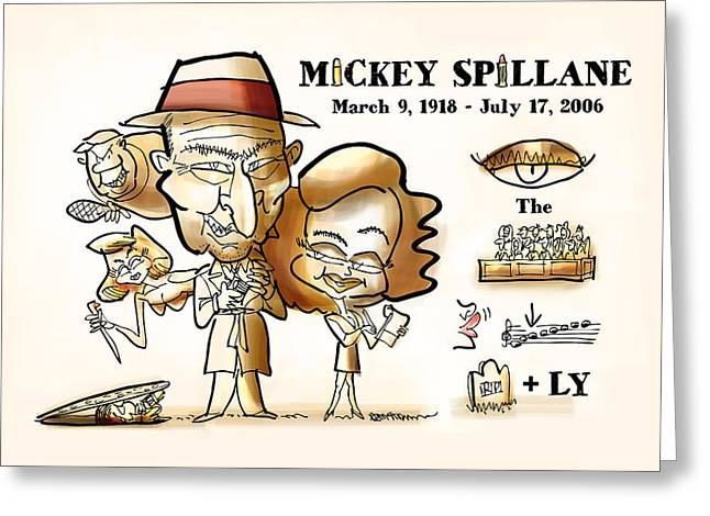 Rebus Greeting Cards - Mickey Spillane Greeting Card by Mark Armstrong