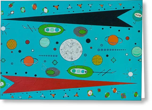 Micro Cosmic A Space Odyssey Greeting Card by Debra Jacobson