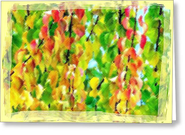 Apricot Digital Art Greeting Cards - Micro Linear Apricot Leaves Greeting Card by Will Borden