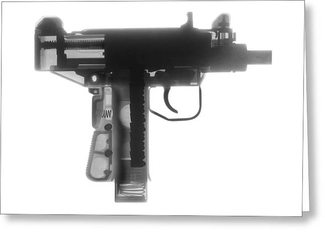 Guns Photographs Greeting Cards - Micro Uzi X Ray Photograph Greeting Card by Ray Gunz