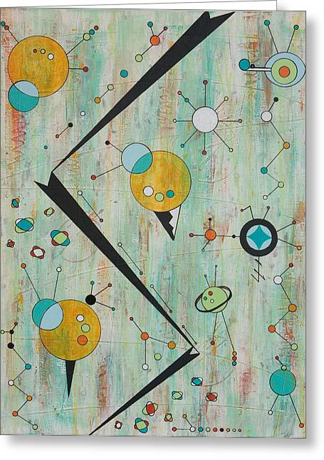 Microcosmic Outerspace Shindig Greeting Card by Debra Jacobson