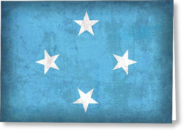 National Mixed Media Greeting Cards - Micronesia Flag Vintage Distressed Finish Greeting Card by Design Turnpike