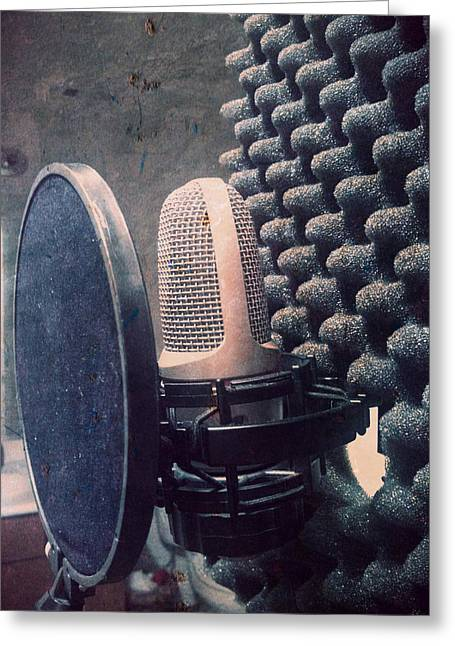 Microphone - In The Studio Greeting Card by Brian Howard