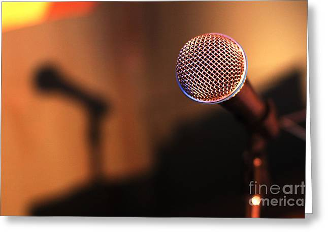 Microphone Stand Greeting Cards - Microphone Greeting Card by Micah May