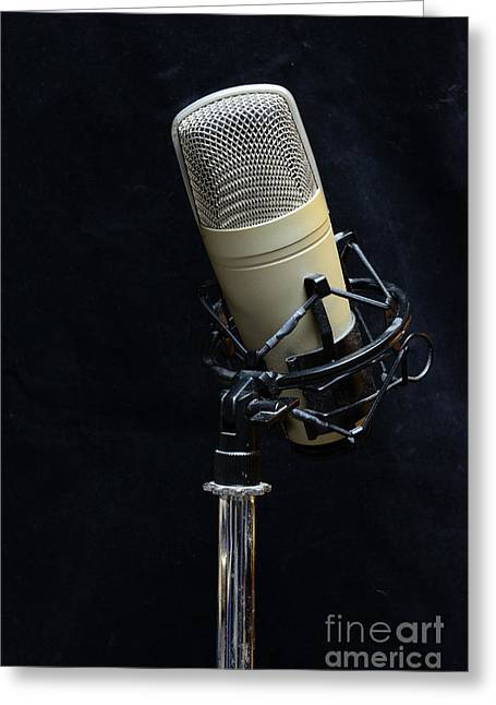 Microphone Stand Greeting Cards - Microphone on Black Greeting Card by Paul Ward