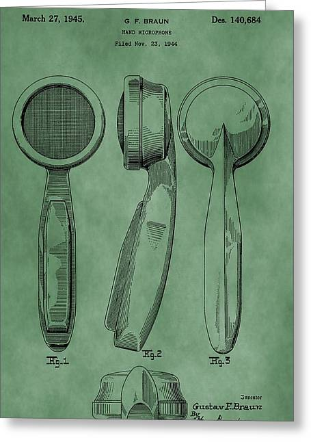Condenser Greeting Cards - Microphone Patent Green Greeting Card by Dan Sproul