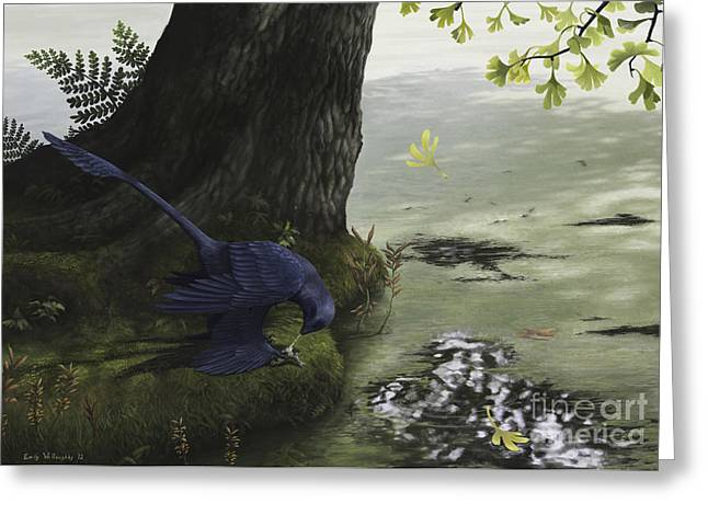 Bird On Tree Greeting Cards - Microraptor Gui Eating A Small Fish Greeting Card by Emily Willoughby