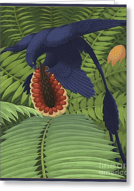 Dromaeosaurid Greeting Cards - Microraptor Gui Snacking On A Cycad Greeting Card by Emily Willoughby