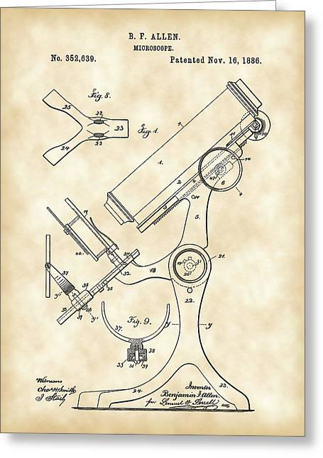 Laboratory Digital Greeting Cards - Microscope Patent 1886 - Vintage Greeting Card by Stephen Younts