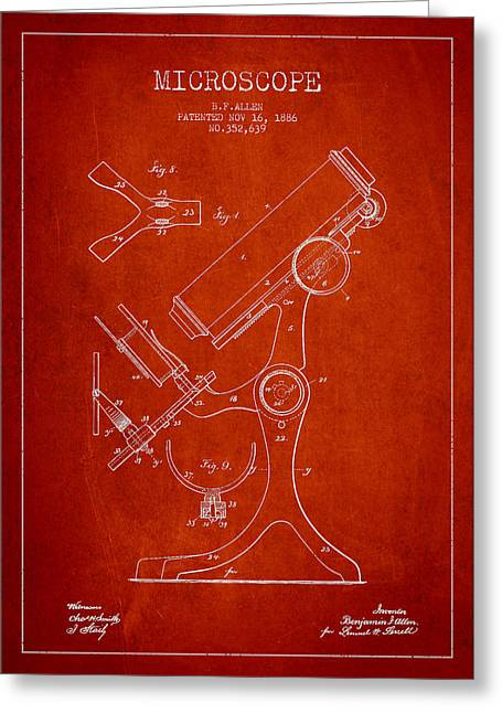 Science Greeting Cards - Microscope Patent Drawing From 1886 - Red Greeting Card by Aged Pixel