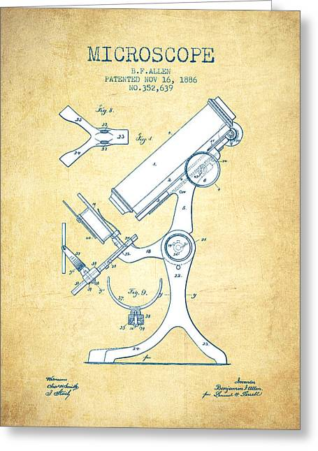 Biology Greeting Cards - Microscope Patent Drawing From 1886 - Vintage Paper Greeting Card by Aged Pixel