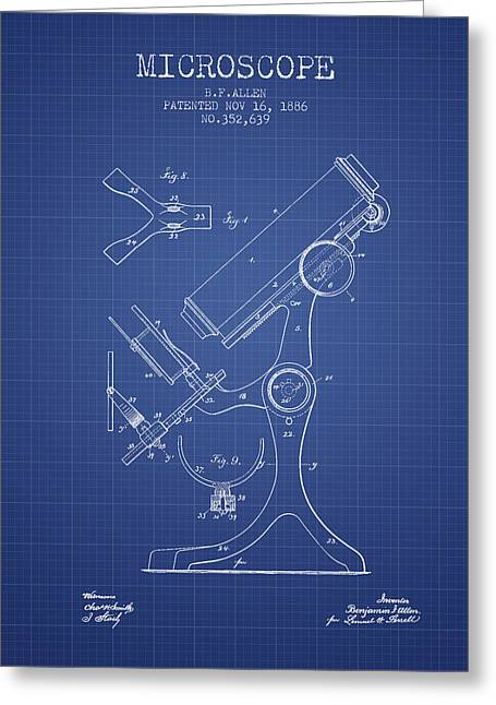 Biology Greeting Cards - Microscope Patent From 1886 - Blueprint Greeting Card by Aged Pixel