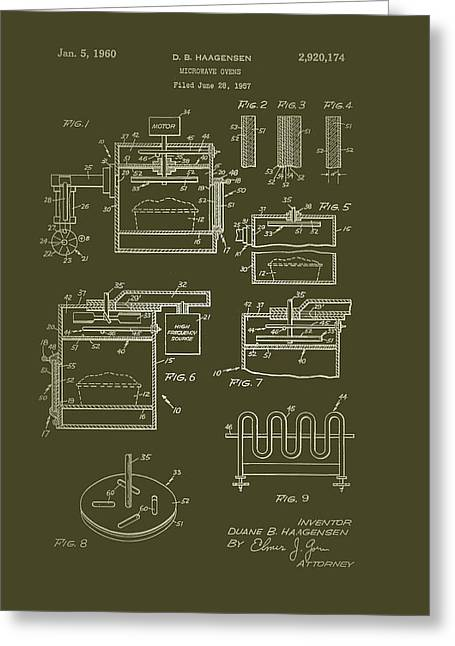Art Product Drawings Greeting Cards - Microwave Oven Patent 1960 Greeting Card by Mountain Dreams