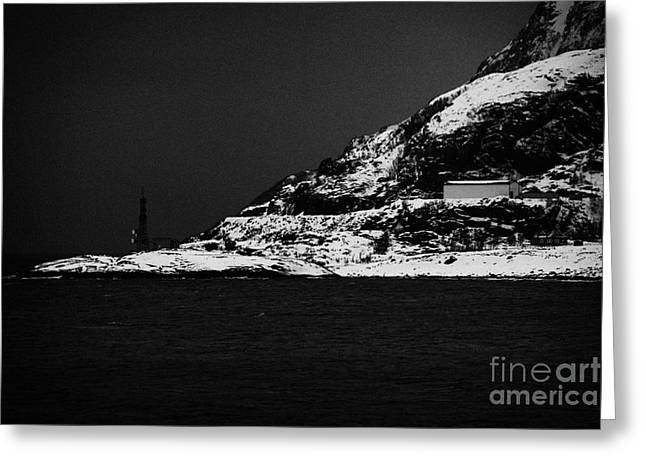 Norwegian Sea Greeting Cards - Microwave Relay Communications Station On The Outskirts Of Oksfjord During Winter Norway Europe Greeting Card by Joe Fox