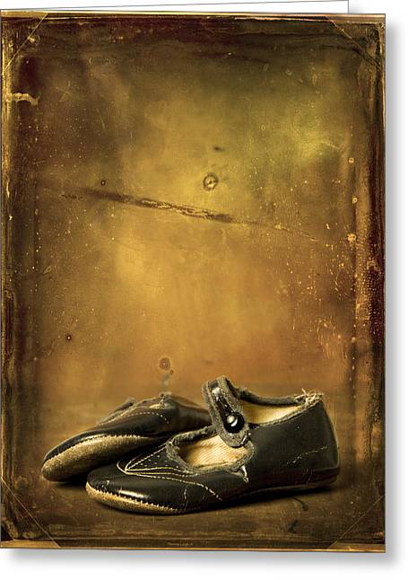 Des Chaussures Greeting Cards - Mid 40s Baby Shoes Greeting Card by Theresa Tahara