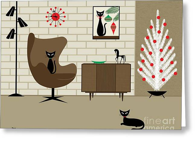 Christmas Art Greeting Cards - Mid-Century Christmas Greeting Card by Donna Mibus