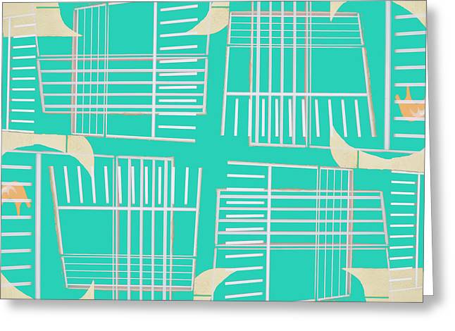 Retro Abstract Greeting Cards - Mid-Century Design Aqua Greeting Card by Carol Leigh