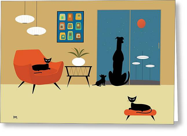Black Cat Fantasy Greeting Cards - Mid Century Dogs and Cats Greeting Card by Donna Mibus