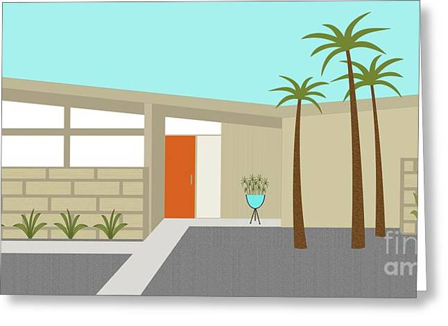 Planter Greeting Cards - Mid Century Modern House 1 Greeting Card by Donna Mibus