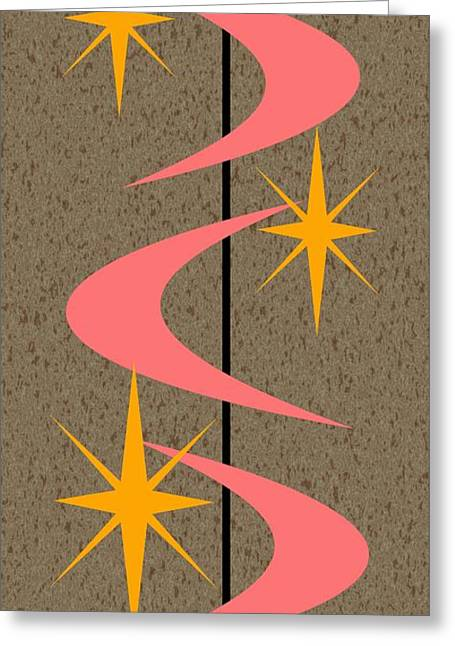 Pink Digital Greeting Cards - Mid Century Modern Shapes 5 Greeting Card by Donna Mibus
