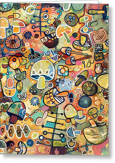 Food Art Paintings Greeting Cards - Mid Century Mushroom Madness Greeting Card by Jen Norton