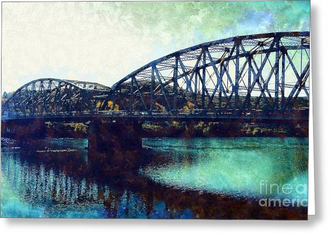 Blue Green Water Digital Greeting Cards - Mid-Delaware River Bridge Greeting Card by Janine Riley