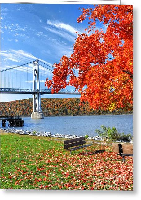 Steel Water Feature Greeting Cards - Mid Hudson bridge in fall Greeting Card by Linda Covino