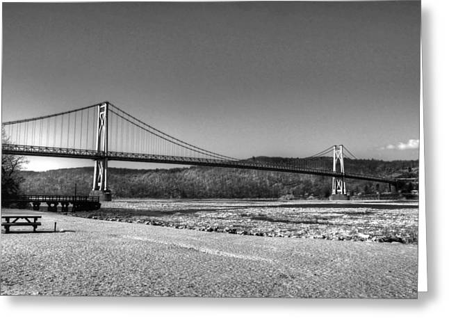 Mid Span Greeting Cards - Mid Hudson Bridge in winter 2 Greeting Card by Linda Covino