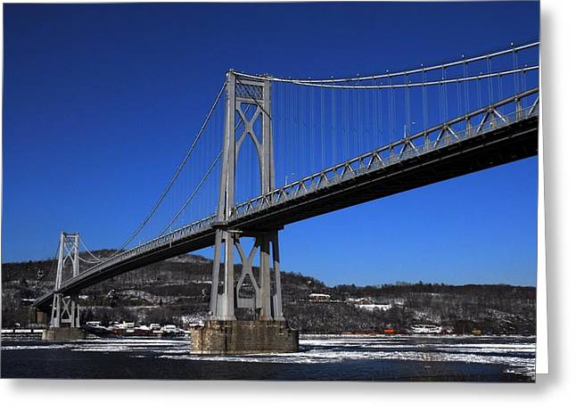 Mid Span Greeting Cards - Mid Hudson Bridge in winter Greeting Card by Linda Covino