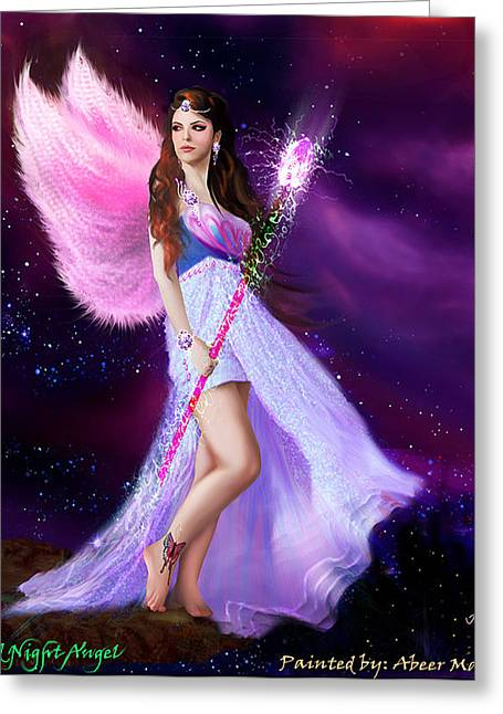Fantacy Greeting Cards - Mid Night Angel Greeting Card by Abeer Malik