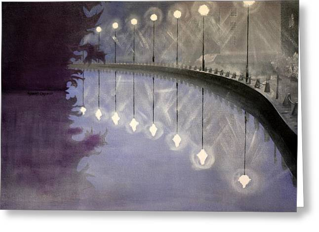 Night Lamp Greeting Cards - Mid Night Canal Greeting Card by Robert Crooker