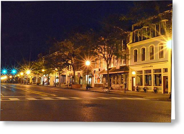 Skaneateles Greeting Cards - Mid night main street Greeting Card by Robert Green