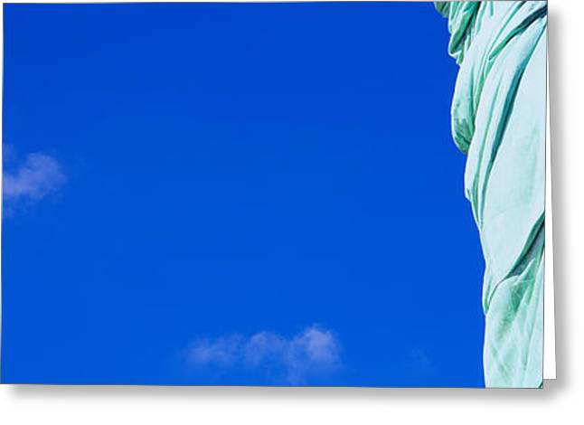 Liberty Island Greeting Cards - Mid Section View Of A Statue, Statue Greeting Card by Panoramic Images
