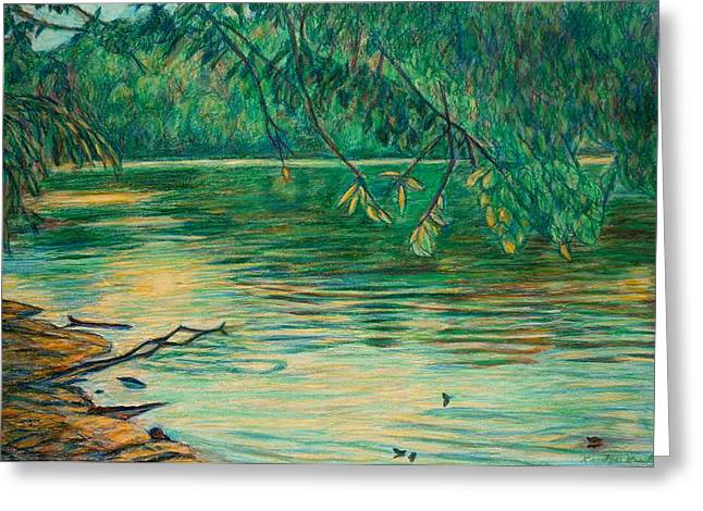 Evening Scenes Pastels Greeting Cards - Mid-Spring on the New River Greeting Card by Kendall Kessler
