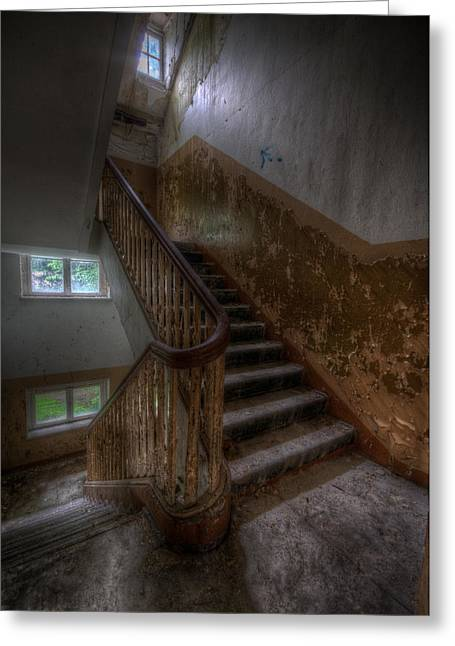 Sanitarium Greeting Cards - Mid stairs Greeting Card by Nathan Wright