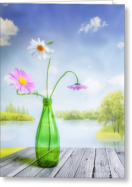 Multicolored Digital Greeting Cards - Mid Summer Greeting Card by Veikko Suikkanen